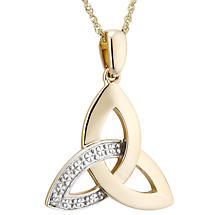 Irish Necklace | 10k Gold Trinity Knot Diamond Celtic Pendant