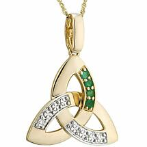 Irish Necklace | 10k Gold Emerald & Diamond Trinity Knot Celtic Pendant