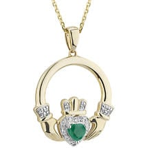 Irish Necklace | 14k Gold Emerald & Diamond Claddagh Pendant