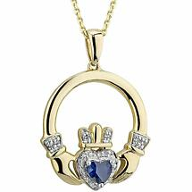 Irish Necklace | 14k Gold Sapphire & Diamond Claddagh Pendant