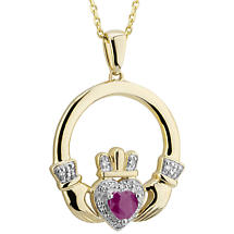 Irish Necklace | 14k Gold Ruby & Diamond Claddagh Pendant