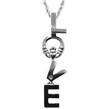 SALE - Irish Necklace - 14k White Gold LOVE Claddagh Pendant