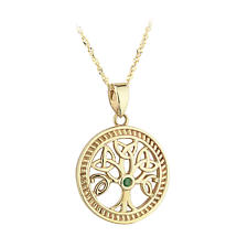 SALE - Irish Necklace - 14k Yellow Gold Celtic Tree of Life Emerald Pendant