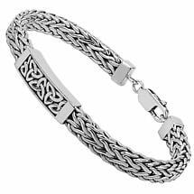 Mens Irish Jewelry | Heavy Sterling Silver Celtic Trinity Knot Bracelet