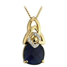 Irish Pendant Gold Plated Crystal Sapphire Trinity Knot Necklace