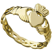 Claddagh Ring - Ladies Irish 10k Gold Trinity Knot Weave Celtic Band