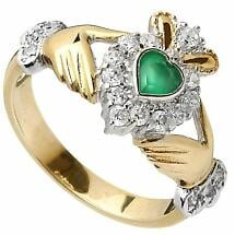 Claddagh Ring - Ladies 10k Gold CZ and Green Agate Irish Ring