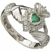 Irish Wedding Ring - Ladies 10k White Gold Emerald and Diamond Claddagh Ring