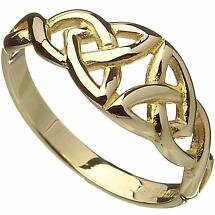 Irish Ring - 10k Yellow Gold Ladies Twin Celtic Trinity Knot Band