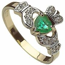 Claddagh Ring - 10k Gold Ladies Emerald and CZ Irish Ring
