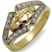 Irish Wedding Ring - 10k Gold Ladies CZ Claddagh Irish Band