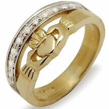 Irish Wedding Ring - 10k Gold Ladies Claddagh CZ Band