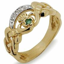 Irish Wedding Ring - 10k Gold Ladies Celtic Band with CZ and Emerald Claddagh