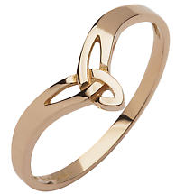 Irish Ring - 10k Rose Gold Ladies Wishbone Trinity Knot Ring