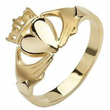 Claddagh Ring - 10k Yellow Gold Contemporary Cross Ladies Irish Ring