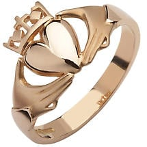 Claddagh Ring - 10k Rose Gold Contemporary Cross Ladies Irish Ring