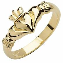 Irish Wedding Band - 10k Yellow Gold Ladies Elegant Claddagh Ring