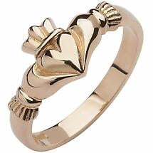 Irish Wedding Band - 10k Rose Gold Ladies Elegant Claddagh Ring