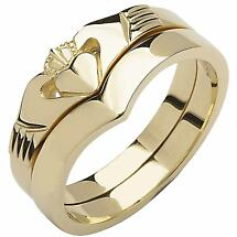 Irish Wedding Band - 10k Yellow Gold Ladies Elegant Two Piece Wishbone Claddagh Ring