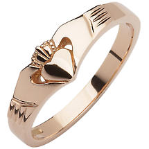 Irish Wedding Band - 10k Rose Gold Ladies Elegant Wishbone Claddagh Ring