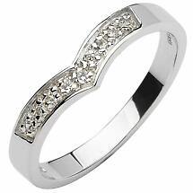 Irish Wedding Band - 10k  White Gold Diamond Ladies Wishbone Ring