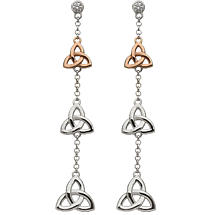 Irish Earrings | Real Irish Gold & Sterling Silver Celtic Trinity Knot Trio by House of Lor