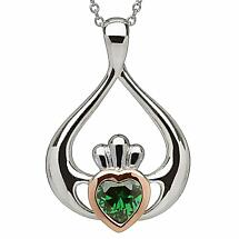 Irish Necklace | Real Irish Gold & Sterling Silver Claddagh Pendant by House of Lor