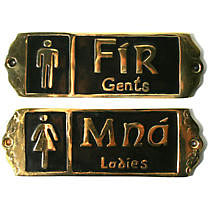 "Irish Pub Fir and Mna ""Gents and Ladies"" Brass Bathroom Door Signs"