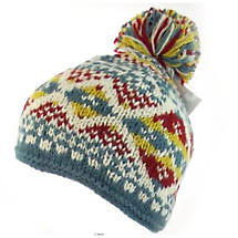 Irish Hat -  Wool Ladies Bobble Hat Turquoise Yellow