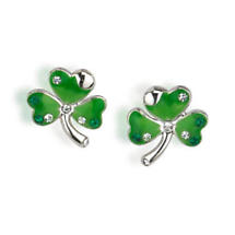 Rhodium Plated Green Enamel and Crystal Shamrock Earrings