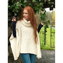 Ladies Merino Wool Aran Patchwork Cape