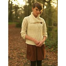 Wool Cardigan Sweater - Ladies Merino Wool One Button Aran Patchwork Cardigan