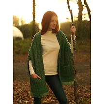 Merino Wool Wrap with Pockets - Green