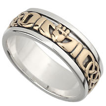 Irish Wedding Band - 10k Gold and Sterling Silver Mens Celtic Knot Claddagh Ring