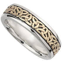 Irish Wedding Band - 10k Gold and Sterling Silver Ladies Celtic Trinity Knot Ring