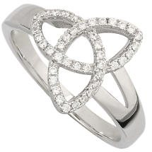 Irish Ring - Ladies Cubic Zirconia Sterling Silver Trinity Knot Ring