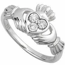 Claddagh Ring - Ladies Irish Claddagh Ring 14k White Gold with 3 Diamonds