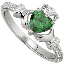 Irish Ladies Sterling Silver Crystal Birthstone Claddagh Ring