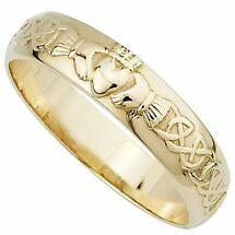Irish Wedding Ring - Men's 14k Gold Claddagh Wedding Band