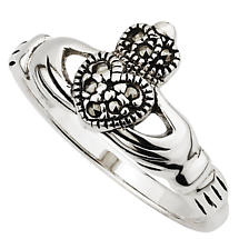 Claddagh Ring - Ladies Sterling Silver Claddagh Marcasite