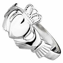 Claddagh Ring - Ladies 14k White Gold Puffed Heart Claddagh Ring