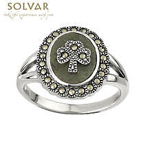 Shamrock Ring - Ladies Sterling Silver Marcasite Marble Shamrock