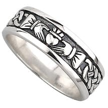 Claddagh Ring - Men's Sterling Silver Celtic Claddagh Wedding Band