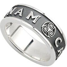 Irish Ring - Mens Oxidized Sterling Silver Mo Anam Cara Ring