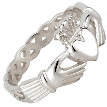Claddagh Ring - Ladies Sterling Silver Claddagh Weave