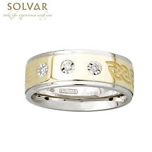 Celtic Ring - 10k Gold and Sterling Silver Celtic Knot Mens 3 Diamond Irish Ring