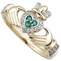 Irish Ring - Ladies 14k Gold Emerald and Diamond Encrusted Claddagh Ring