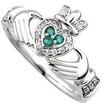 Irish Ring - 14k Gold with Diamond & Emerald Claddagh Ring
