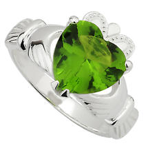 Claddagh Ring - Sterling Silver Large Crystal Heart Claddagh Ring