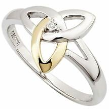 Celtic Ring - Silver, 10k Gold & Diamond Trinity Ring